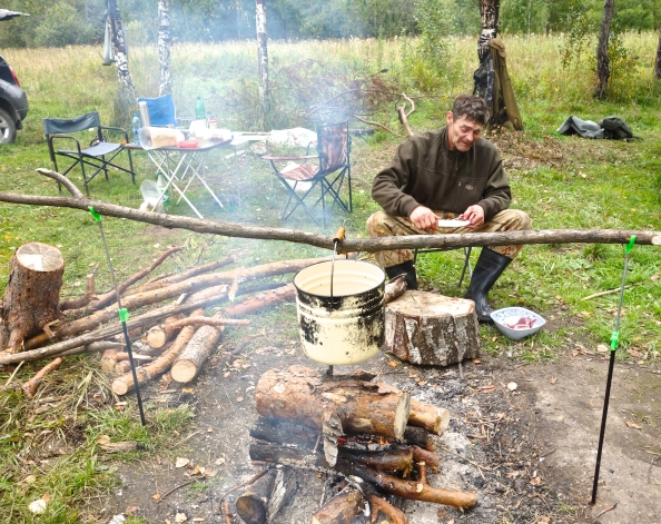 Cooking the stew over open fire